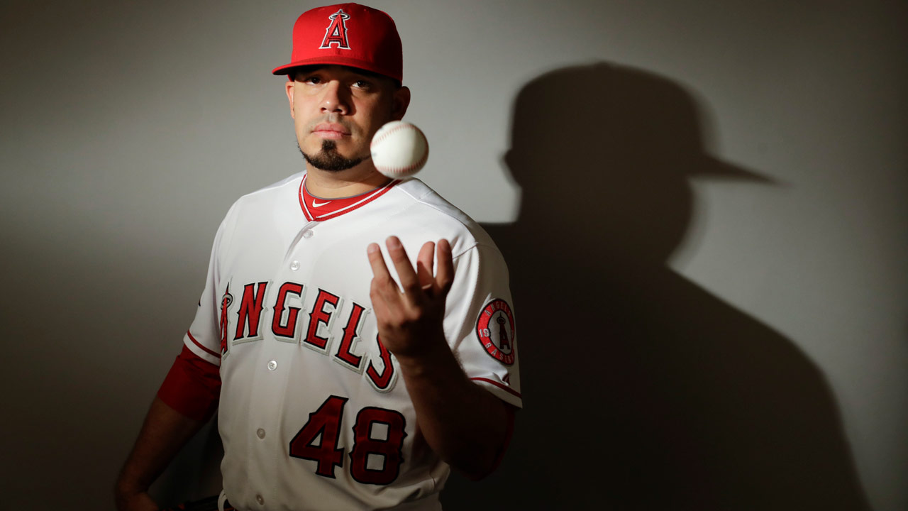This is a 2017 photo of relief pitcher Jose Alvarez of the Los Angeles Angels baseball team poses for a portrait.
