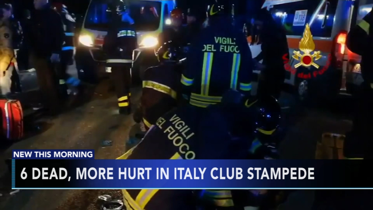 6 dead, dozens hurt in nightclub stampede on Italys coast. Christie Ileto reports during Action News at 6 a.m. on December 8, 2018.