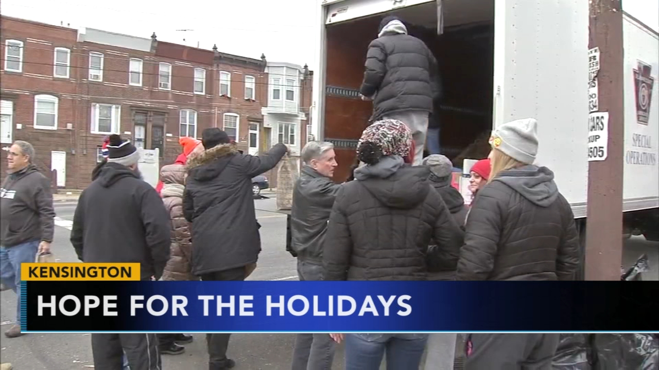 Care packages delivered to those struggling with homelessness and addiction in Kensington. Bob Brooks reports during Action News at 10 a.m. on December 9, 2018.