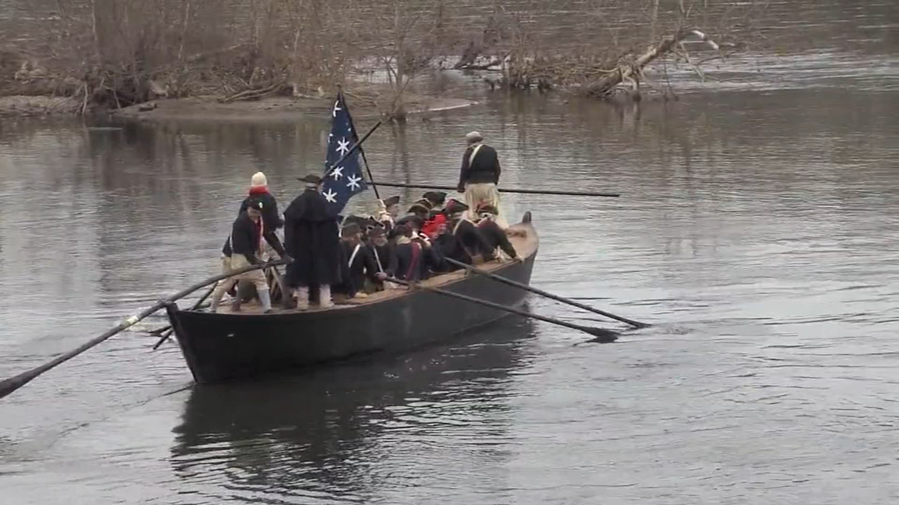Hundreds gather for reenactment of Washington crossing the Delaware: as seen on Action News at 5 p.m., December 9, 2018