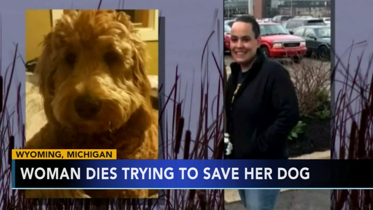 A Michigan woman has died after trying to save her dog who fell through the ice.