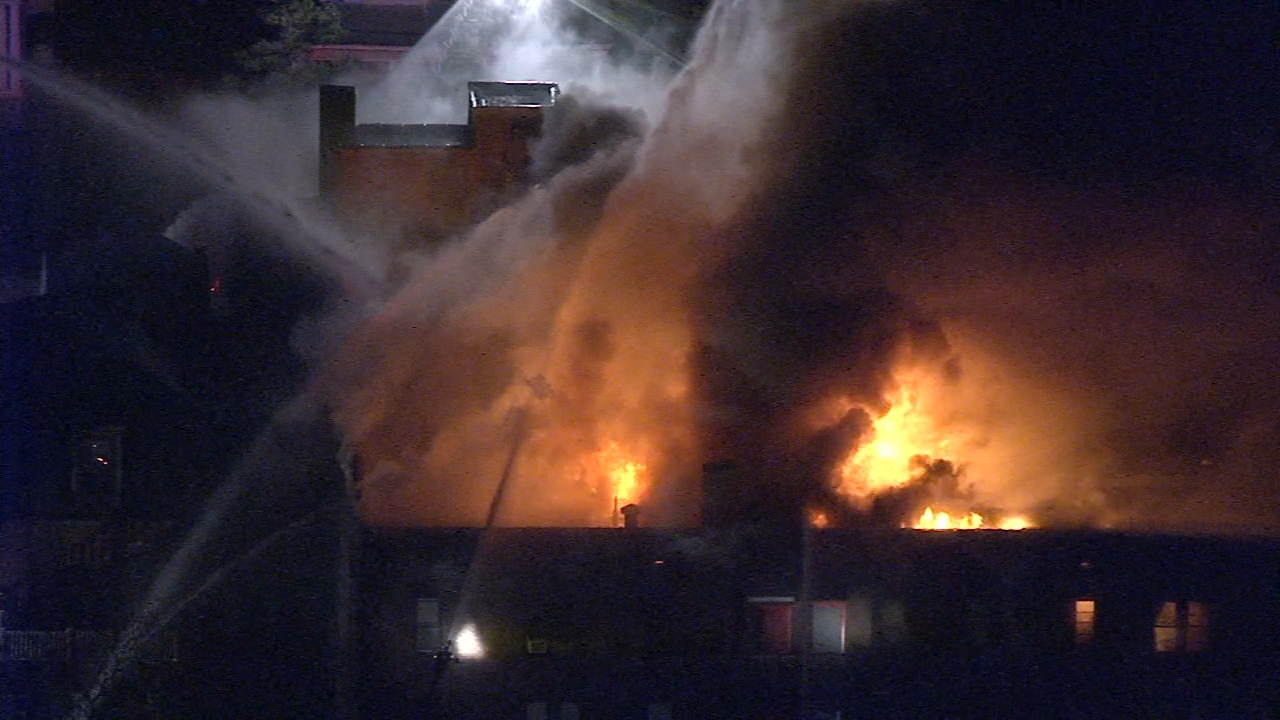 Chopper 6 Video: Multi-alarm fire in Overbrook section of Philadelphia on December 10, 2018.