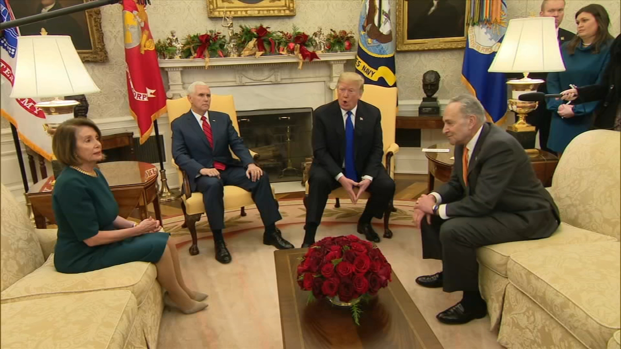Trump bickers with Dem leaders, threatens govt shutdown: ABCs Stephanie Ramos reports from Washington during Action News at 4pm on December 11, 2018.