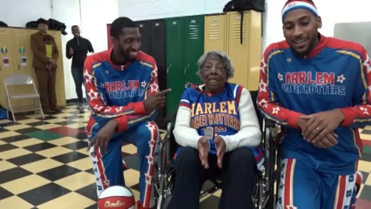 109-year-old Grandma Virginia joins Harlem Globetrotters. Tamala Edwards reports during Action News Mornings on December 12, 2018.