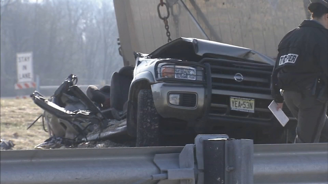 2 dead after SUV crushed by dump truck on Rt. 202 ramp. Bob Brooks report sduring Action News at Noon on December 12, 2018.