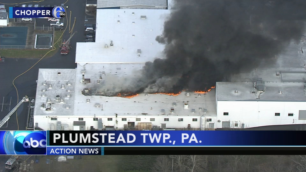 Firefighters battle blaze at warehouse in Bucks County. Rck Williams reports during Action News at 4 p.m. on December 12, 2018.