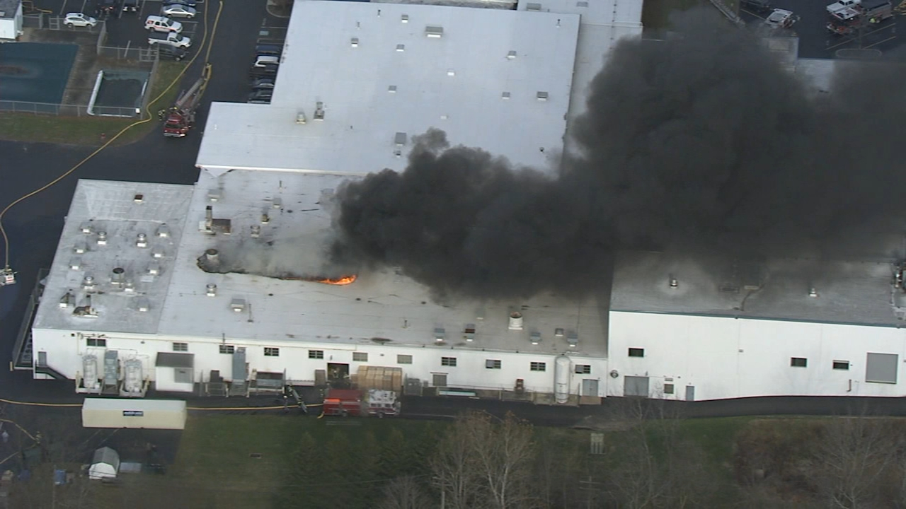 Chopper 6 video: Fire at commercial building in Bucks County on December 12, 2018.