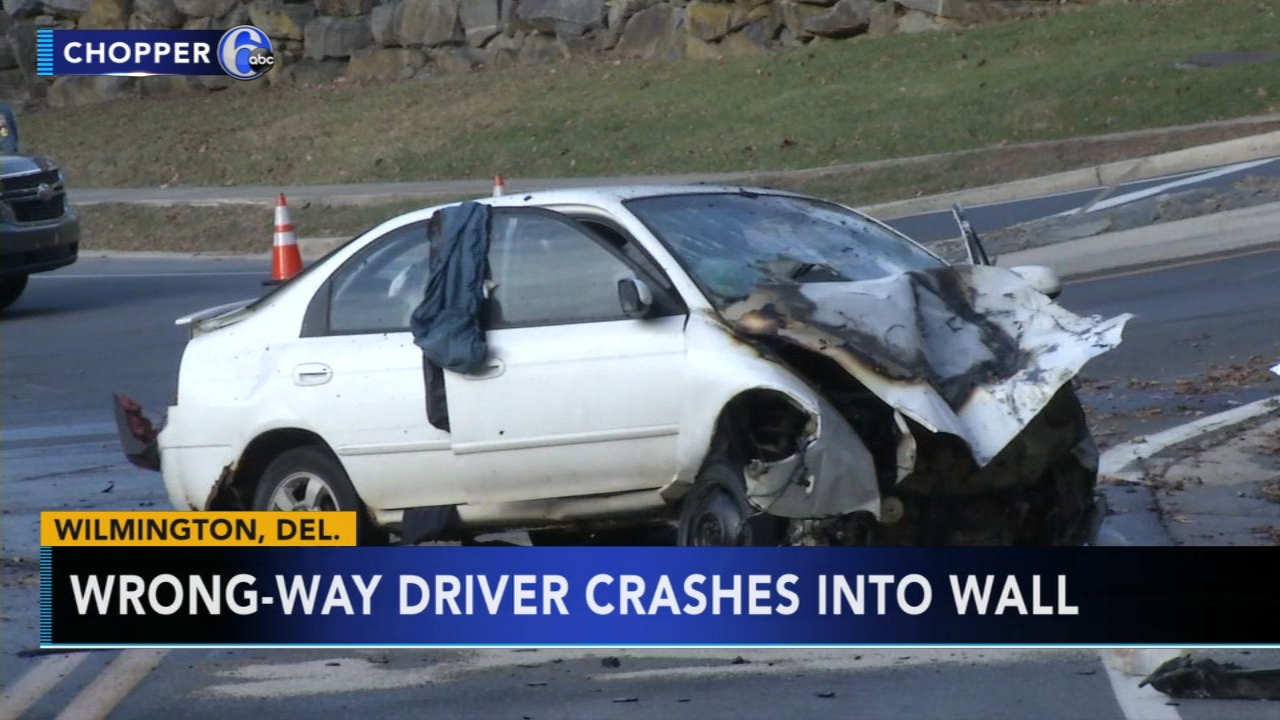 Police: Wrong-way driver crashes into stone wall in Wilmington. Sharrie Williams reports during Action News at 4 p.m. on December 12, 2018.