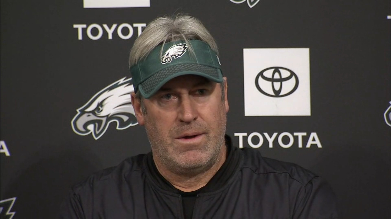 Doug Pederson answers questions on Carson Wentz during a press conferrence on December 14, 2018.