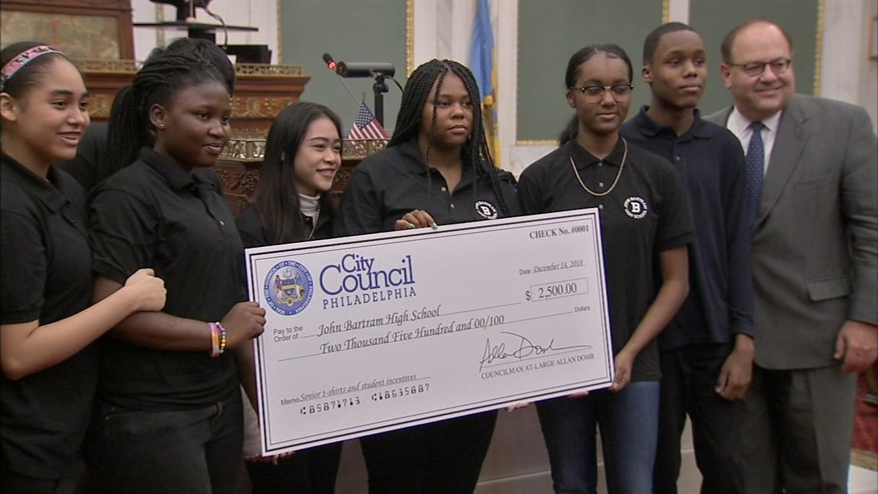 Philadelphia Councilman at-large Allan Domb donated $2,500 dollars of his salary to each of the schools as reported during Action News at 4 on December 14, 2018.