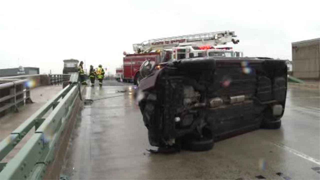 Vehicle overturns on Walnut St. Bridge in Wilmington