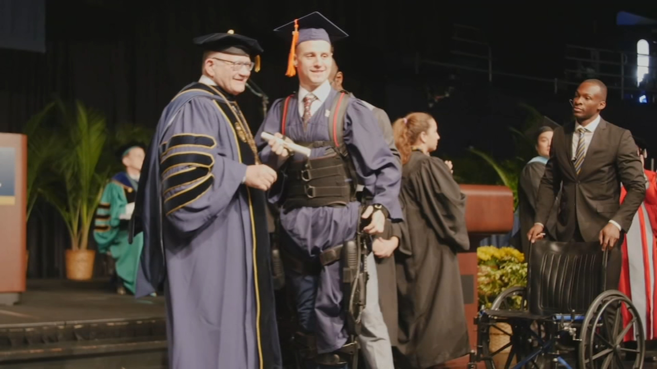 Man confined to wheelchair after spinal injury walks to receive college degree. Nydia Han reports during Action News at 7 a.m. on December 16, 2018.