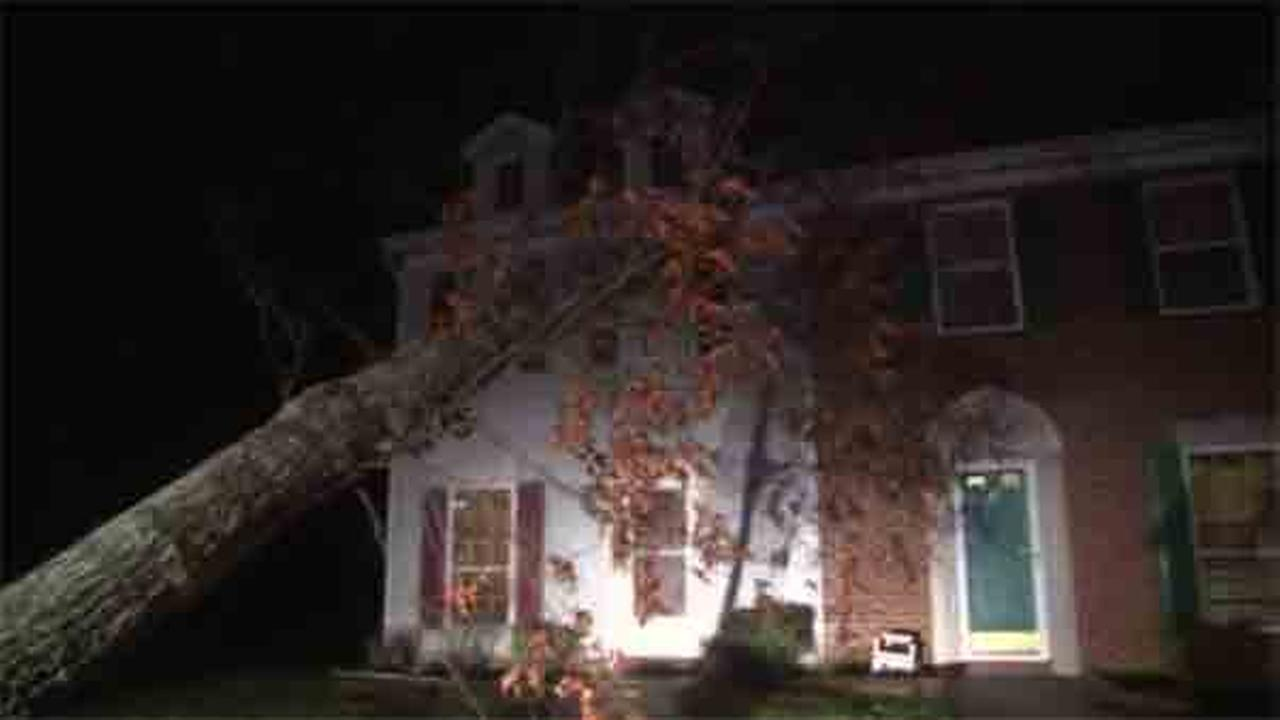 Montgomery County officials say a tree toppled into the roof of a home during a severe storm on Wednesday night.