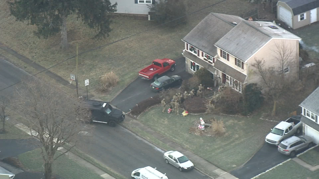Chopper 6 Video: Authorities make their way into Warminster home on December 19, 2018.