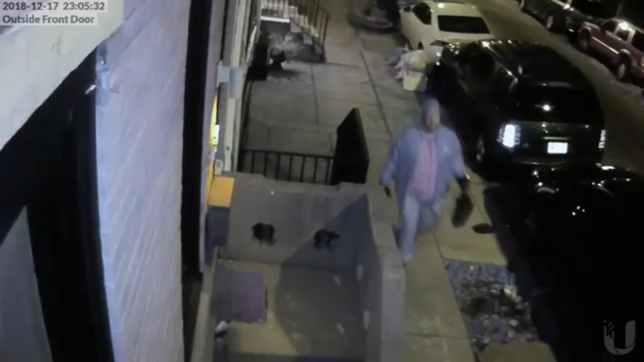 Surveillance cameras captured images of the suspect wanted for multiple acts of vandalism, including spray-painting graffiti on the home of Philadelphia rapper Meek Mill.