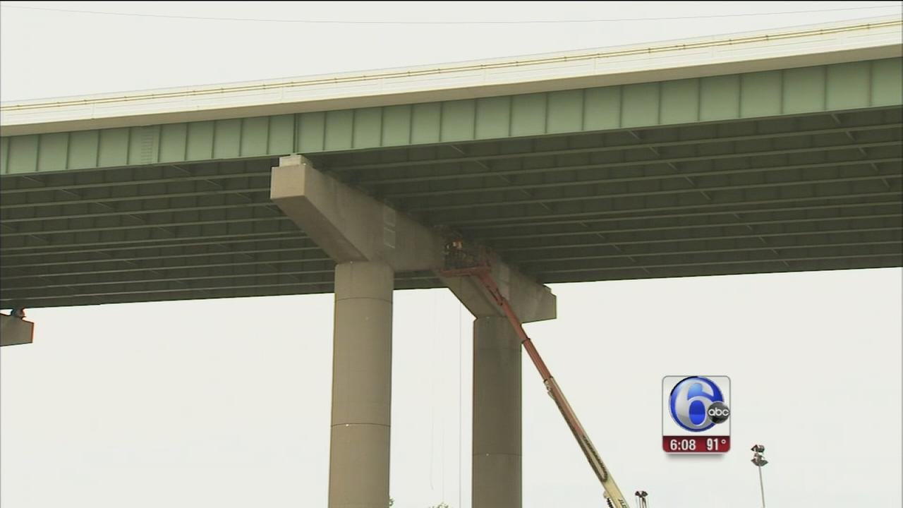 VIDEO: Dirt pile blamed for damage to I-495 bridge
