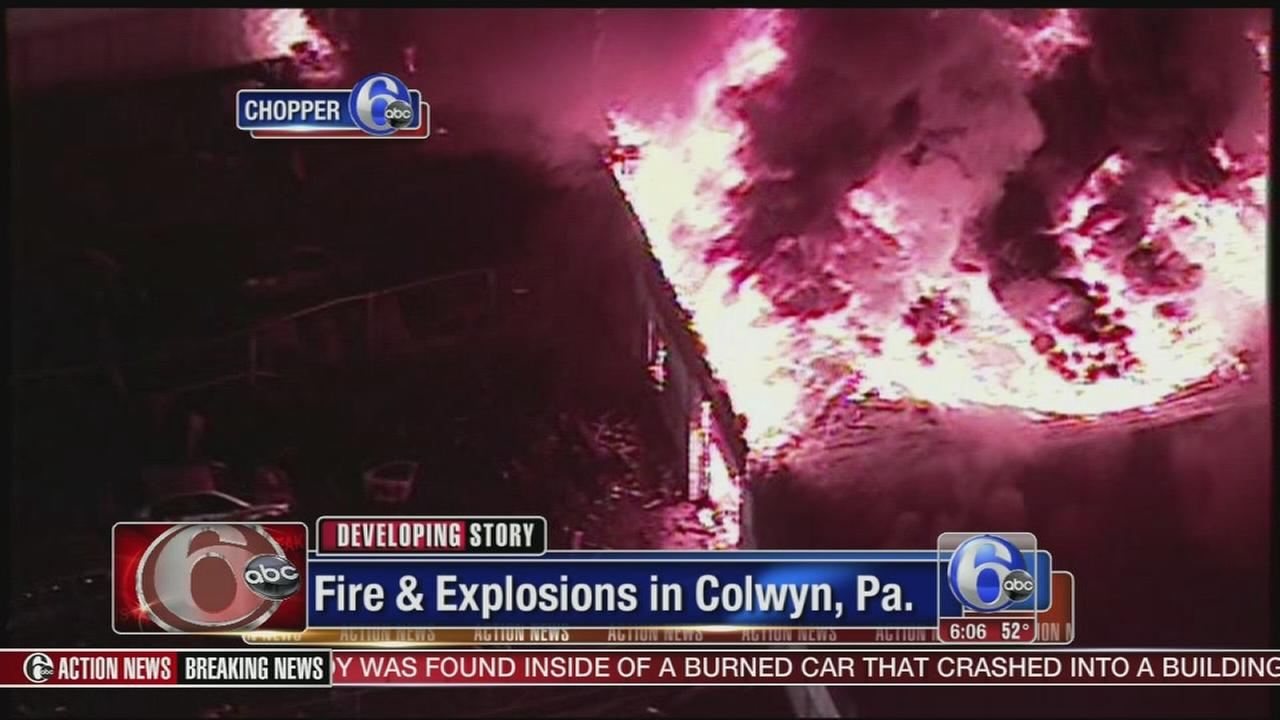 VIDEO: Explosions and fire in Colwyn, Pa.