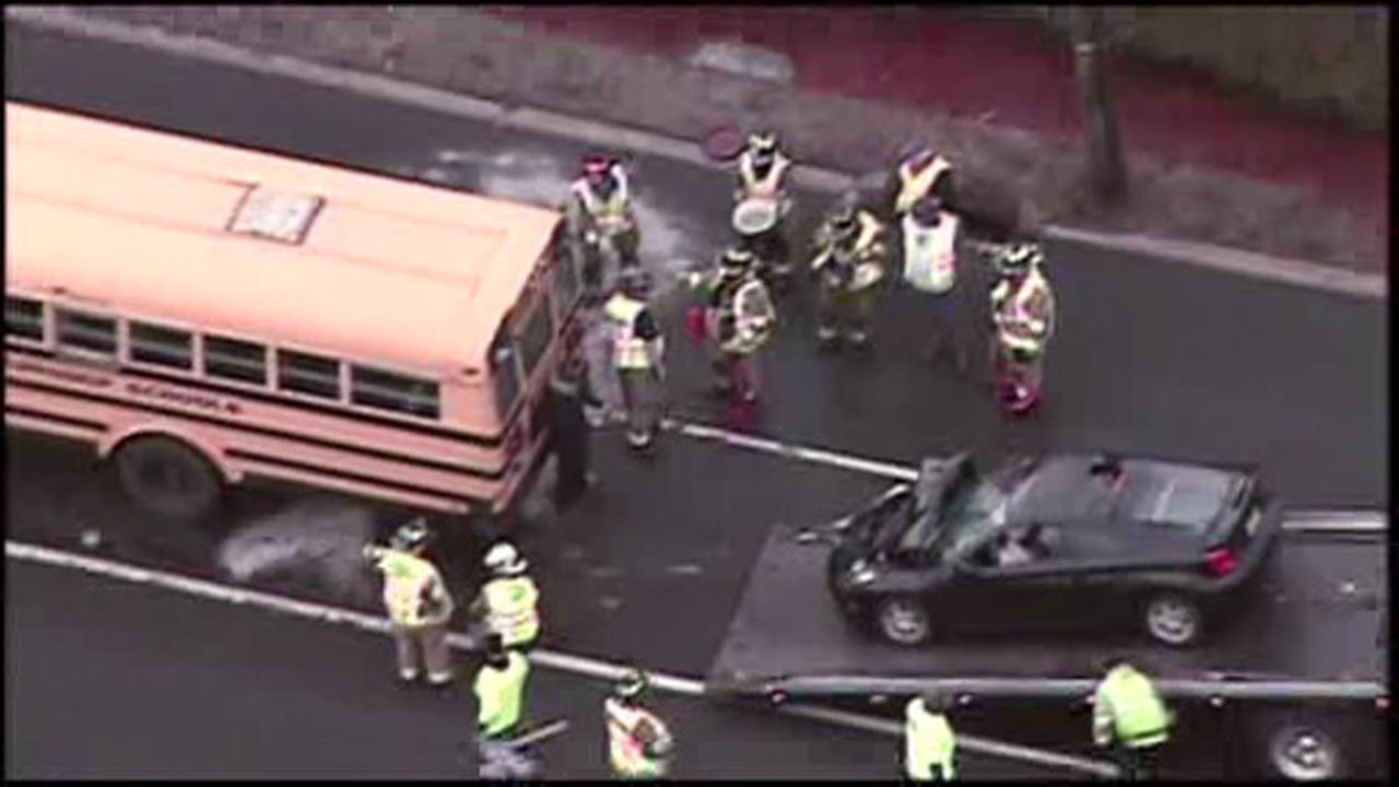 1 injured in Burlington City crash involving school bus