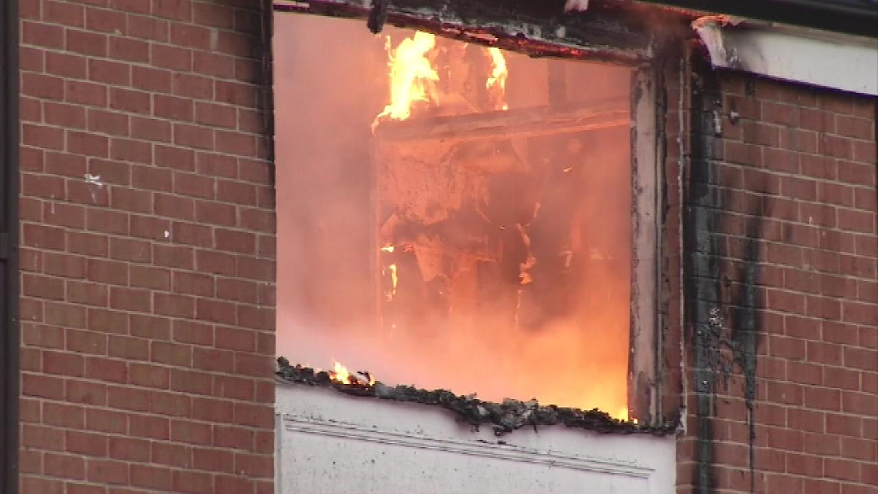 Pictured: An apartment building fire in Claymont, Delaware.