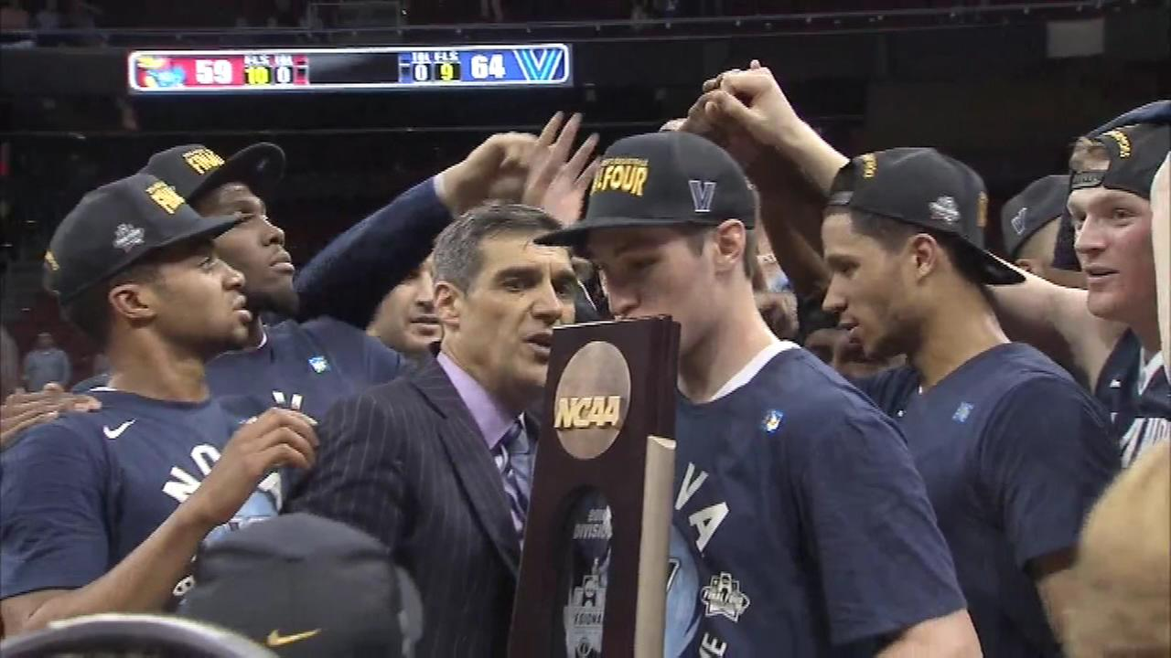 Villanova celebrates after defeating Kansas in the NCAA Tournament on Saturday, March 26, 2016.