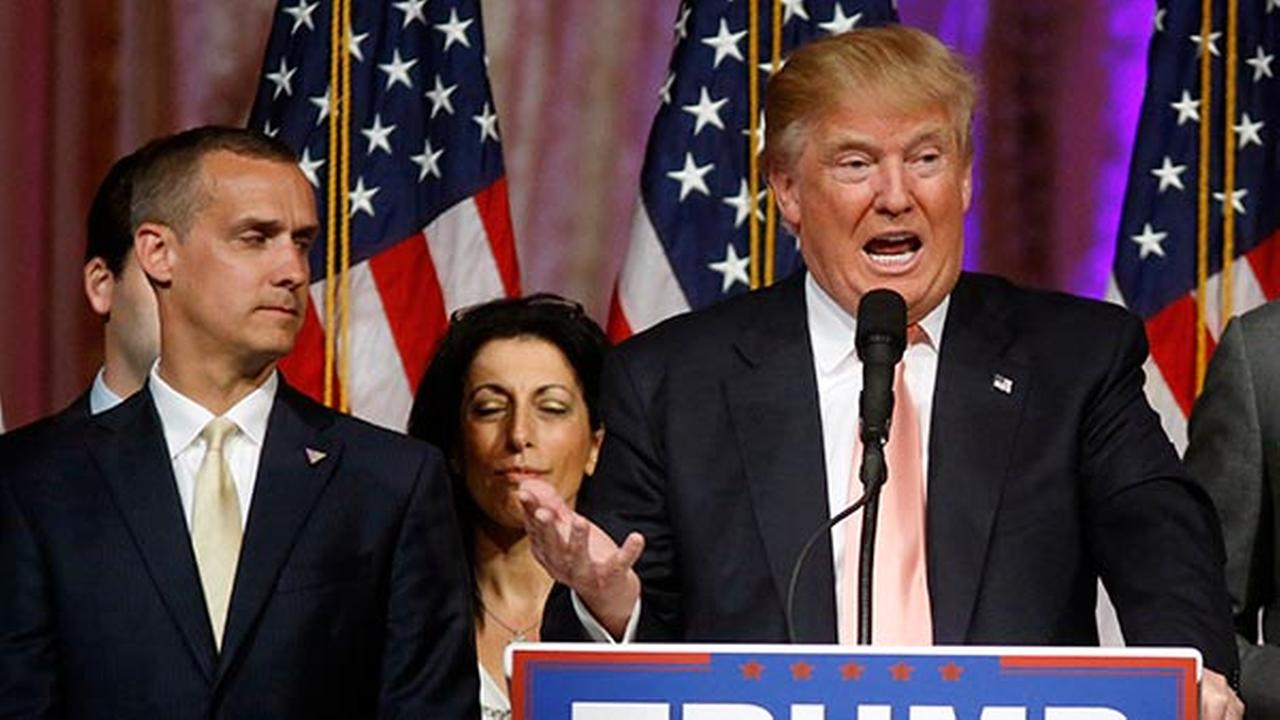 Republican presidential candidate Donald Trump and at left is his campaign manager Corey Lewandowski.