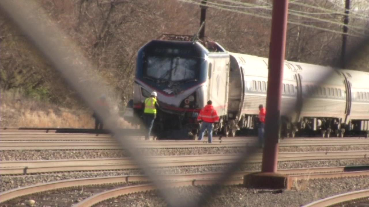 An Amtrak train derailed in Chester, Pennsylvania on April 3, 2016.