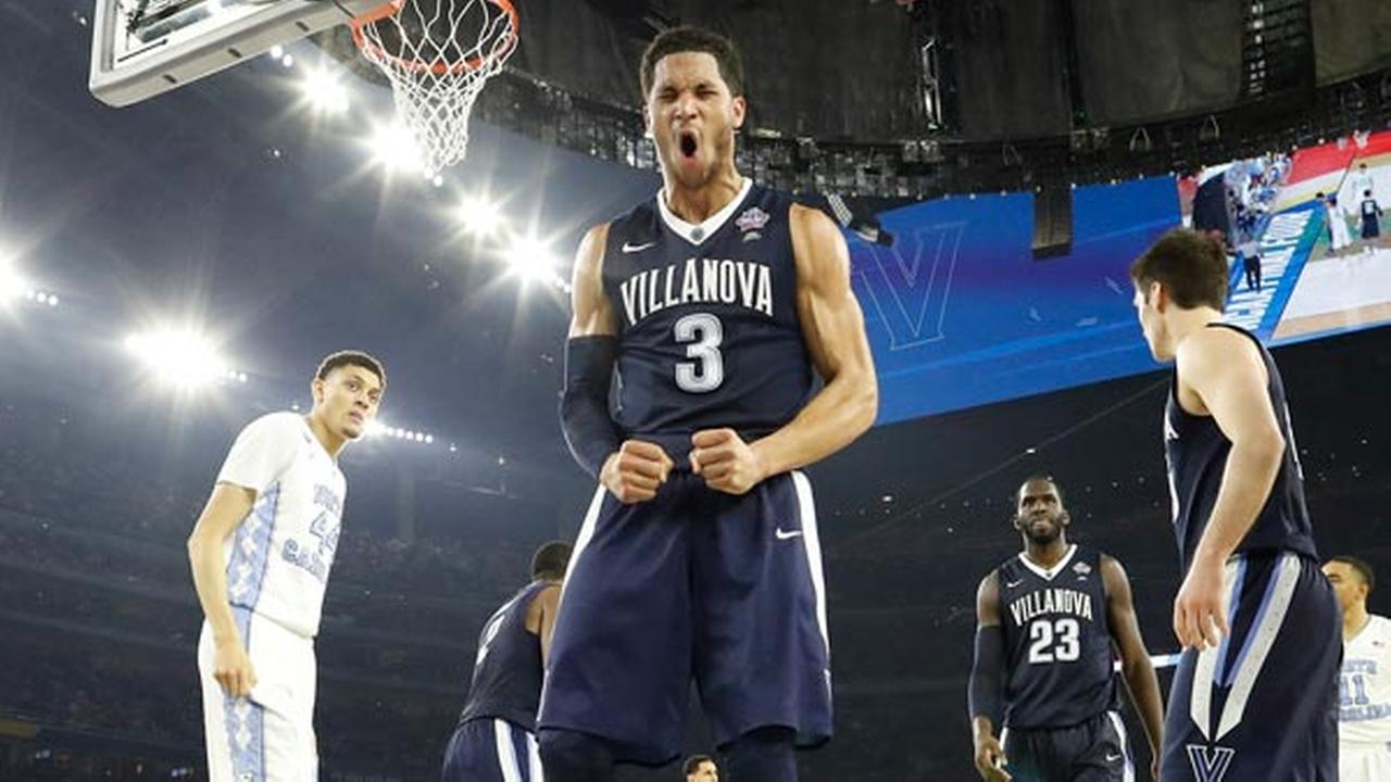 Villanova guard Josh Hart (3) reacts to play against North Carolina during the second half of the NCAA Final Four tournament college basketball championship game.