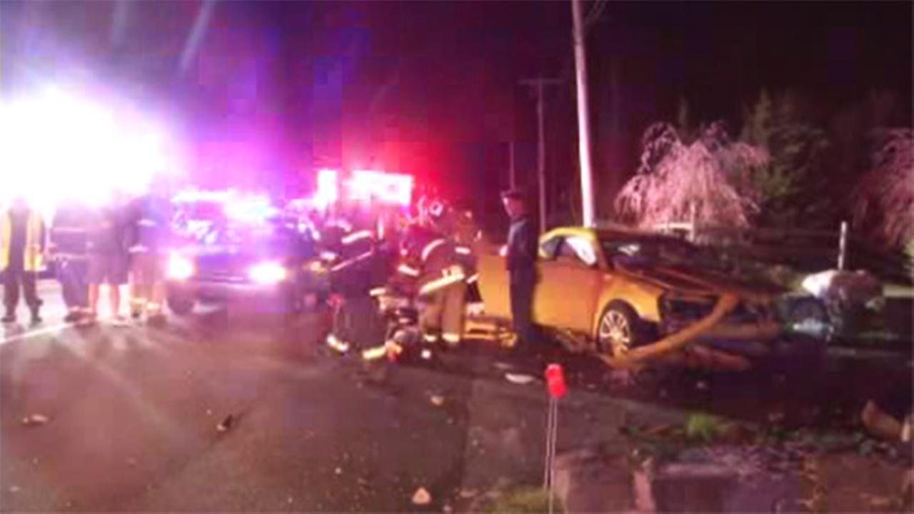 Car crashes into wall after driver hits deer in Del.