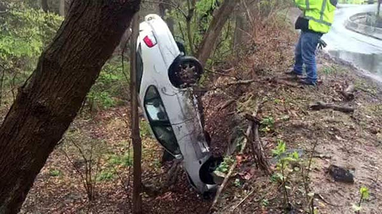 Car plunges down embankment, gets stuck in Fairmount Park