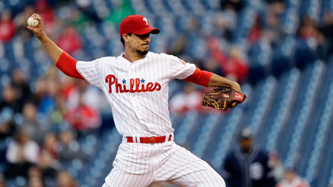 Philadelphia Phillies Charlie Morton pitches during the first inning of a baseball game against the San Diego Padres, Tuesday, April 12, 2016, in Philadelphia.