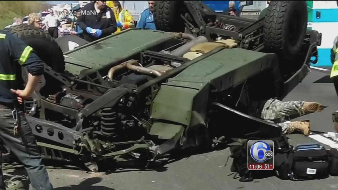 Soldiers injured in crash on nj turnpike in south for Nj motor vehicle inspection