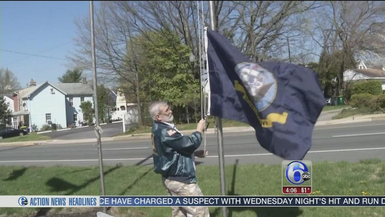 Caring for the flags that he fought for
