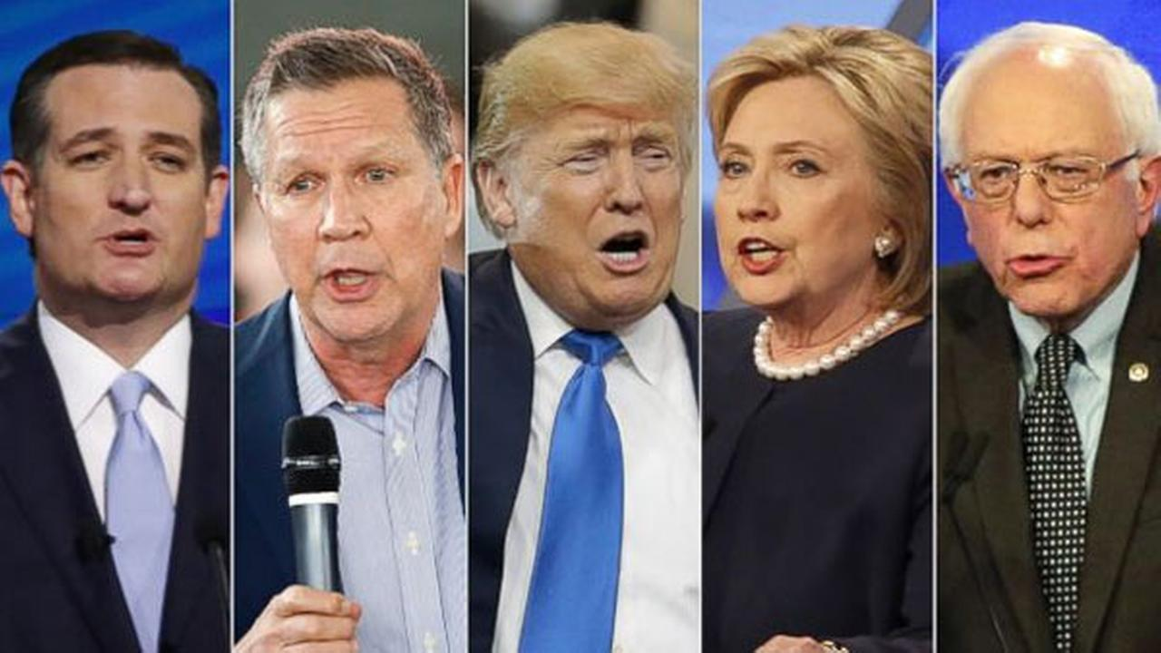 FILE: Ted Cruz in Coral Gables, Fla., John Kasich in North Canton, Ohio, Donald Trump in Cleveland, and both Hillary Clinton and Bernie Sanders in Miami.