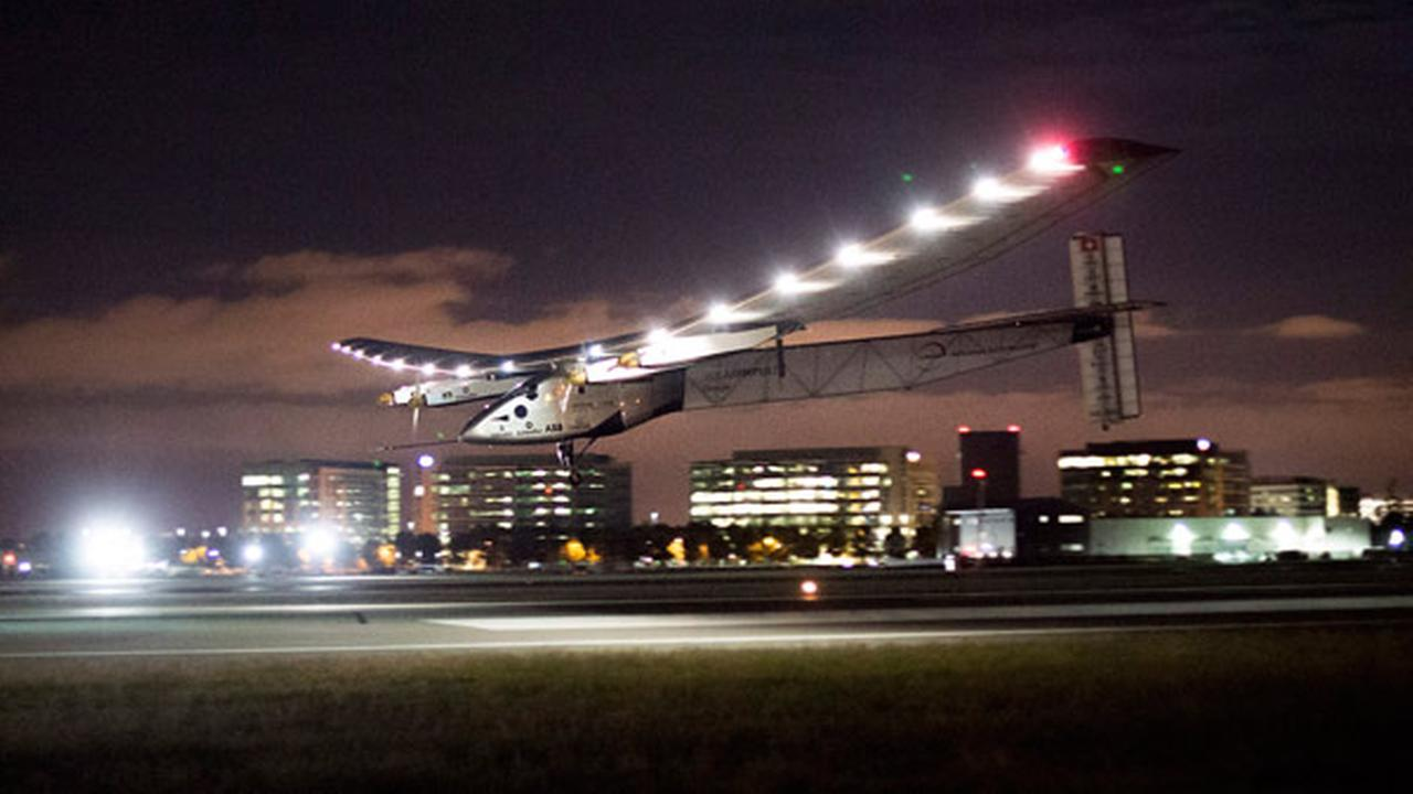 Solar Impulse 2 lands at Moffett Field in Mountain View, Calif., after crossing the Pacific Ocean on Saturday, April 23, 2016.