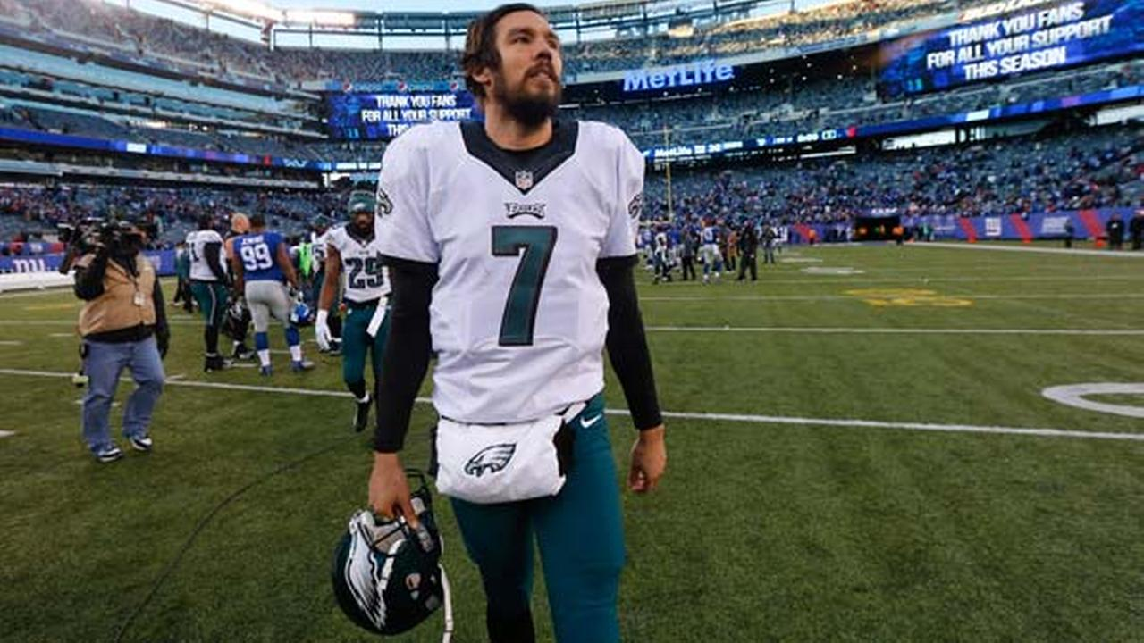 Philadelphia Eagles quarterback Sam Bradford (7) walks off the field after beating the New York Giants 35-30 in an NFL football game, Sunday, Jan. 3, 2016, in East Rutherford, N.J.