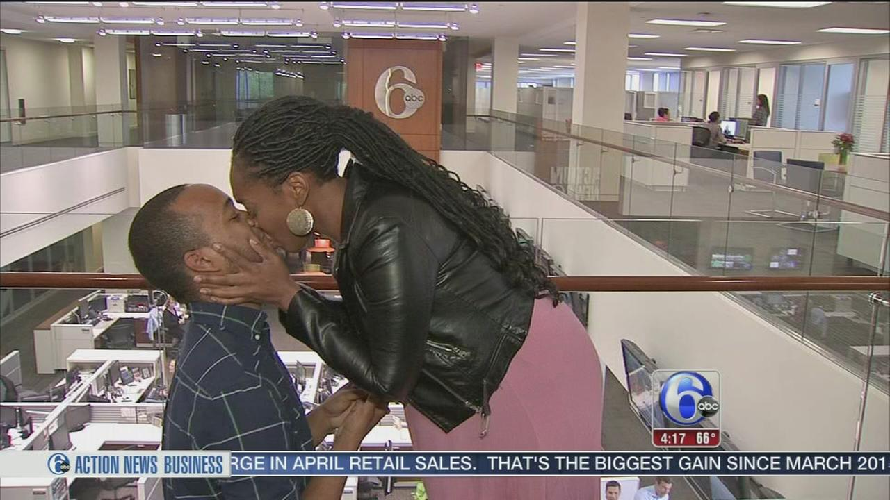 Actors get engaged during Action News interview