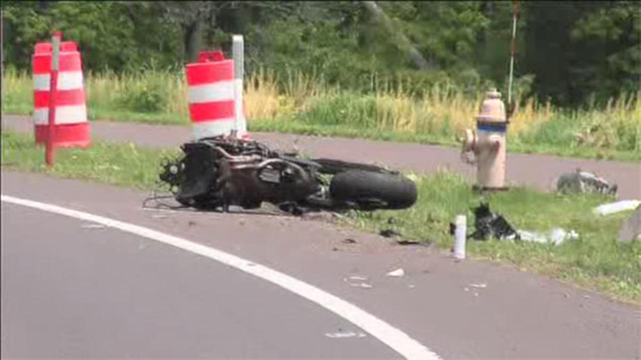Man injured in motorcycle crash in Bucks County