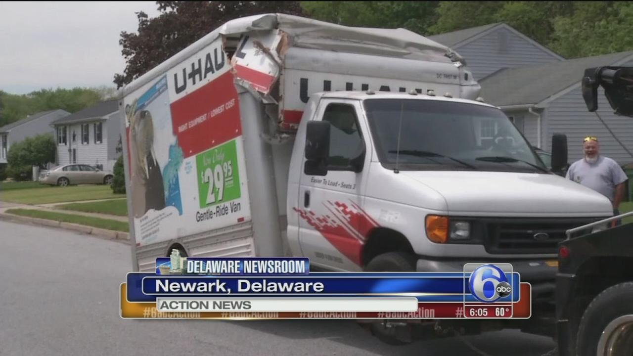 VIDEO: U-Haul truck hits overpass