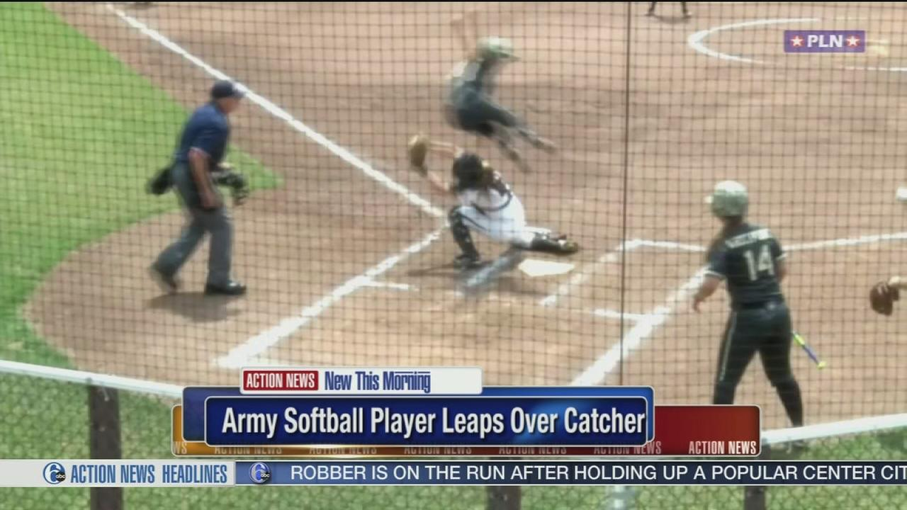 VIDEO: Army softball player leaps over catcher