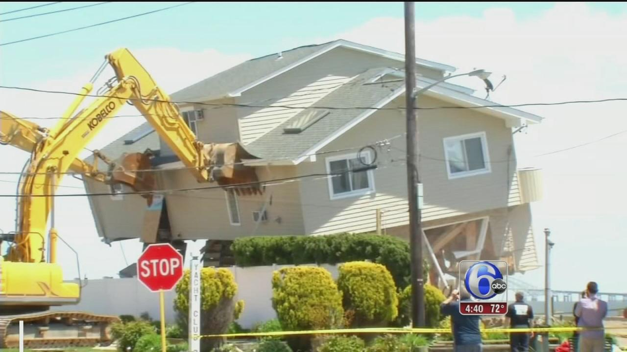 VIDEO: Home damaged by Sandy destroyed again