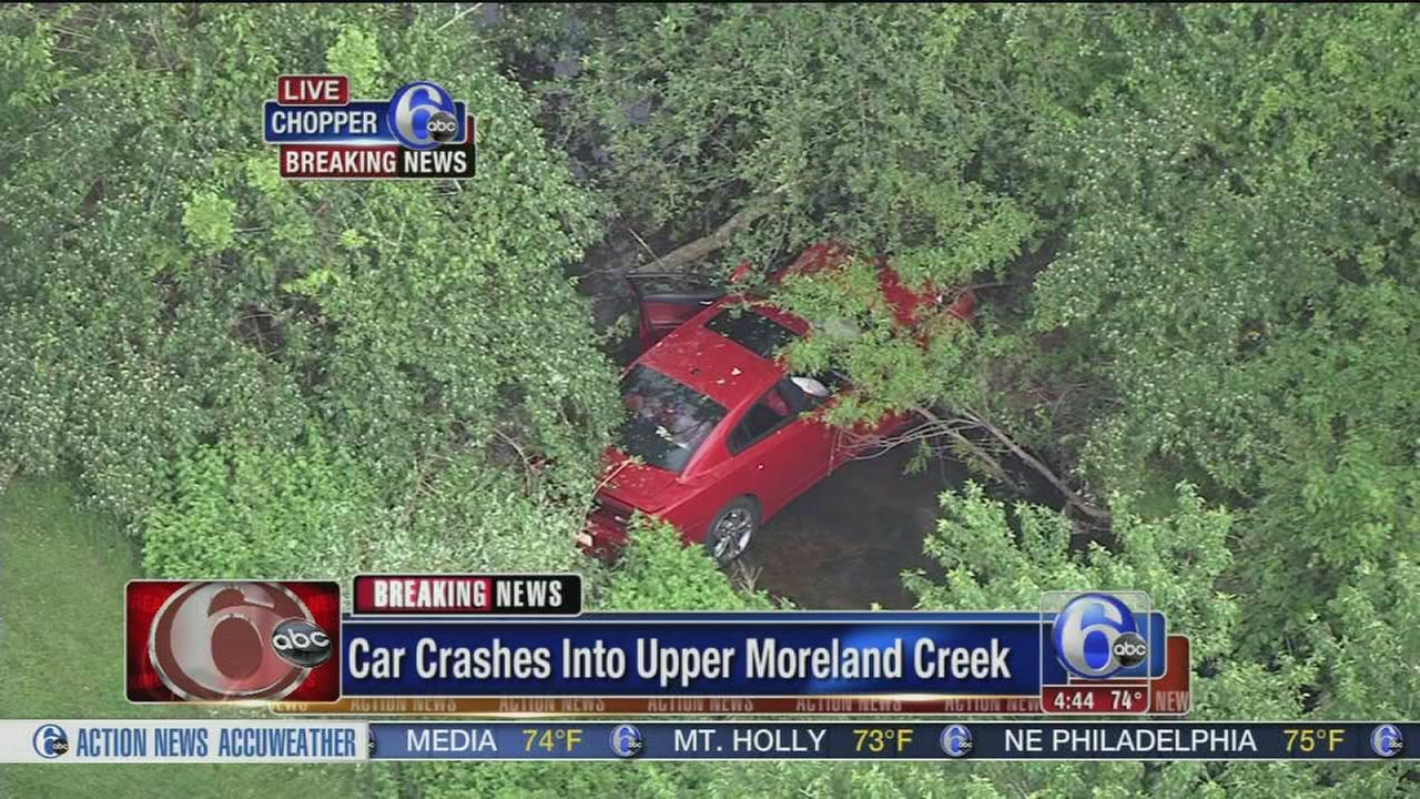 VIDEO: Car crashes into Upper Moreland creek