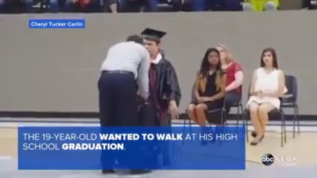 Teen with muscular dystrophy walks to receive high school diploma