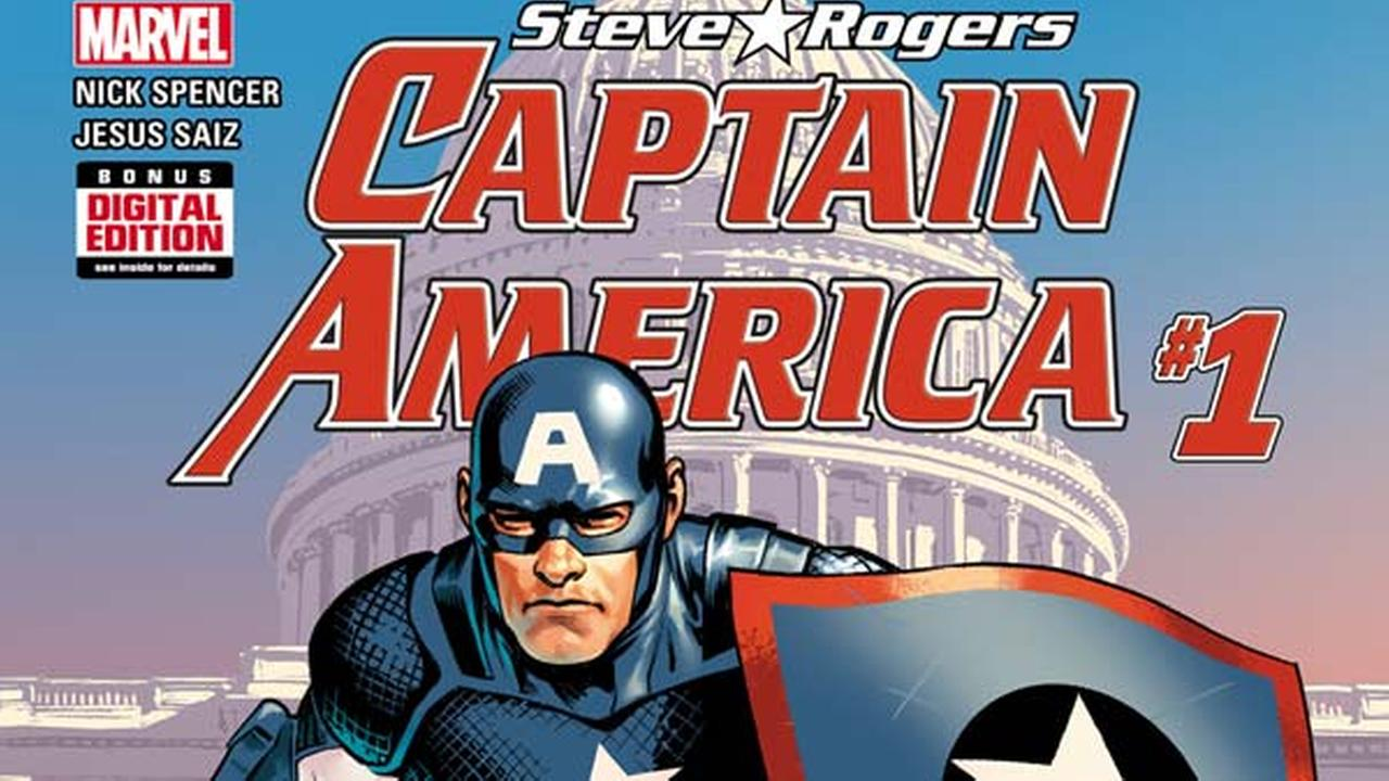 This image released by Marvel Comics shows Captain America: Steve Rogers #1 comic book by Nick Spencer and Jesus Saiz. The new comic book hit stands on Wednesday, May 25, 2016.