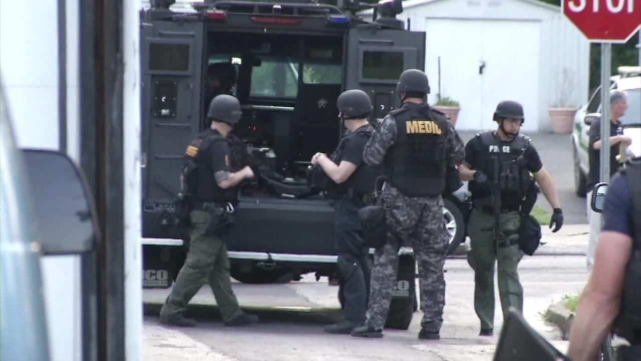 Delaware County SWAT responds to a barricade situation in Springfield, Pennsylvania.
