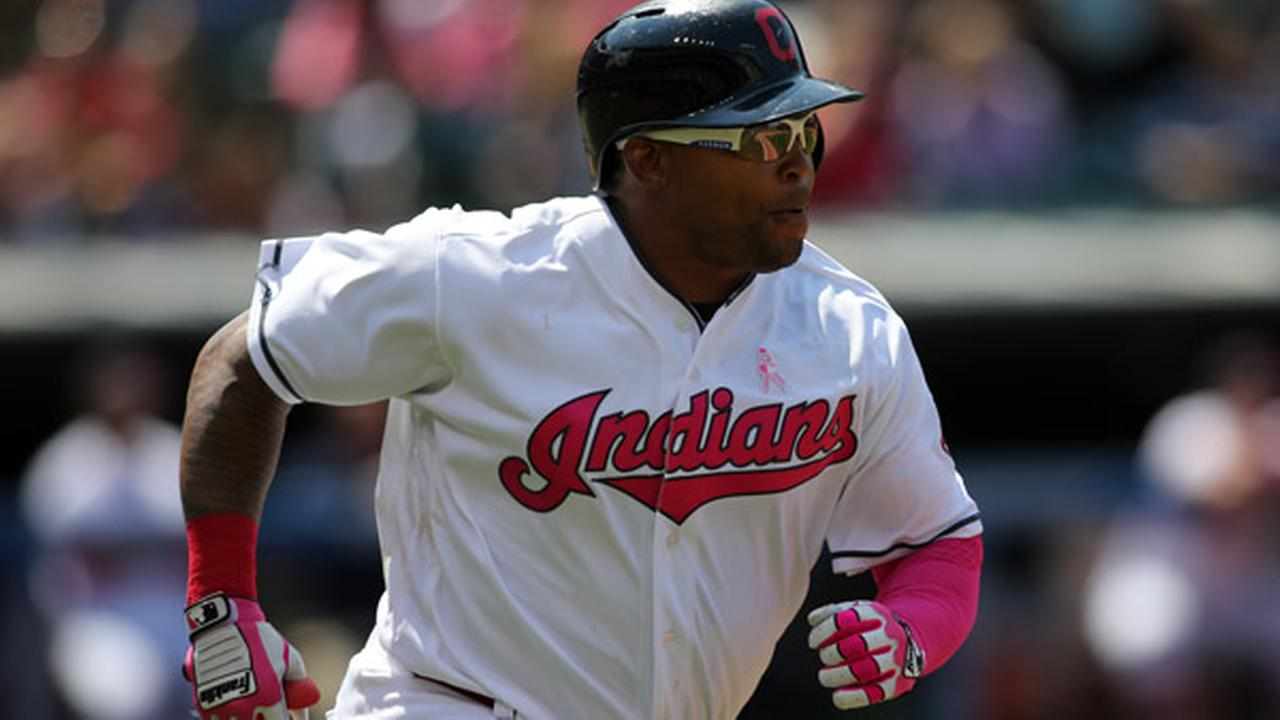 Cleveland Indians Marlon Byrd is seen in action during a baseball game against the Kansas City Royals Sunday, May 8, 2016, in Cleveland.