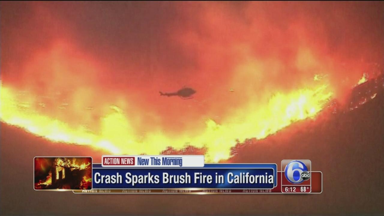 VIDEO: Crash sparks fire in California