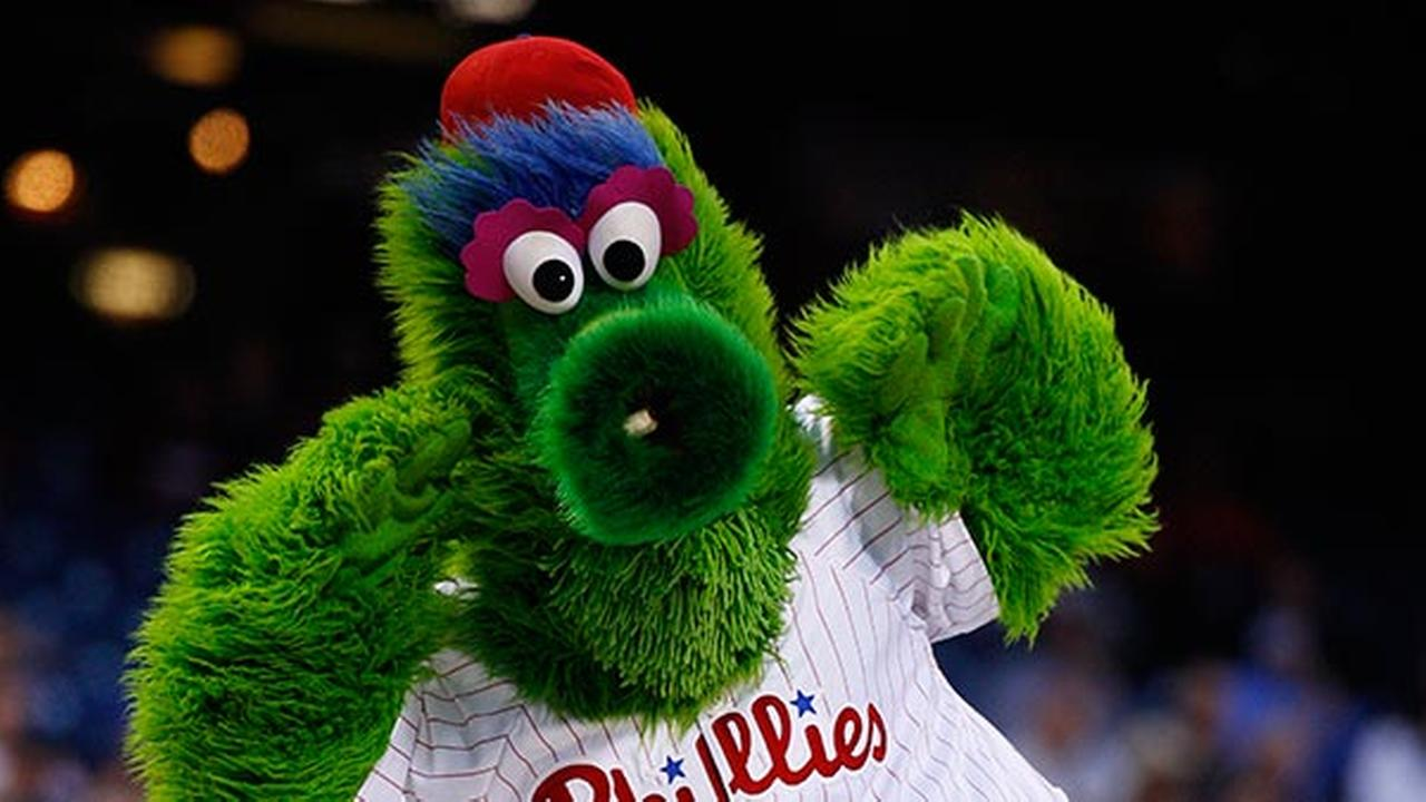The Phillie Phanatic in action during the third inning of a baseball game against the Cincinnati Reds, Saturday, May 17, 2014, in Philadelphia. The Phillies win 12-1.