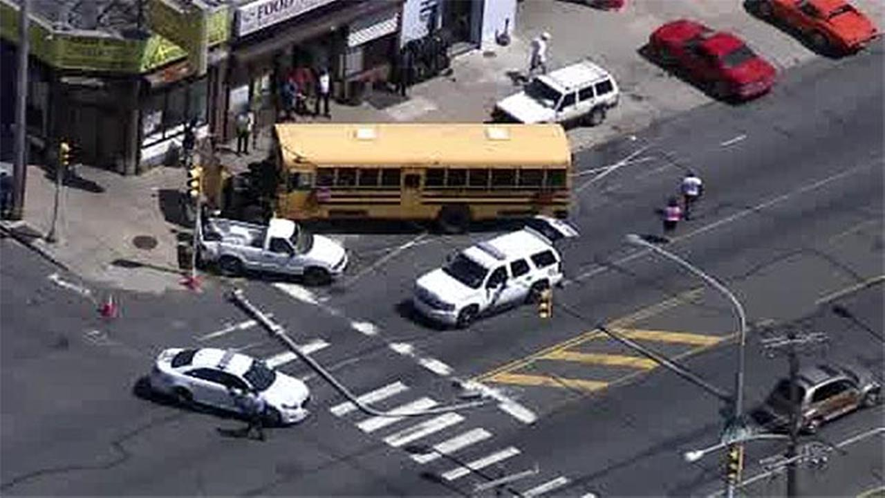 Crash involving school bus closes part of N. Broad St. in East Oak Lane