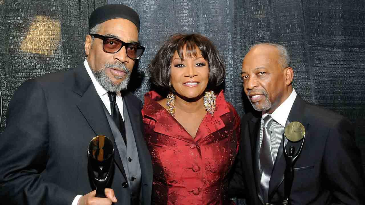 Kenneth Gamble, left, is joined by Patti Labelle and Leon Huff as they were inducted into the Rock and Roll Hall of Fame in New York Monday, March 10, 2008.