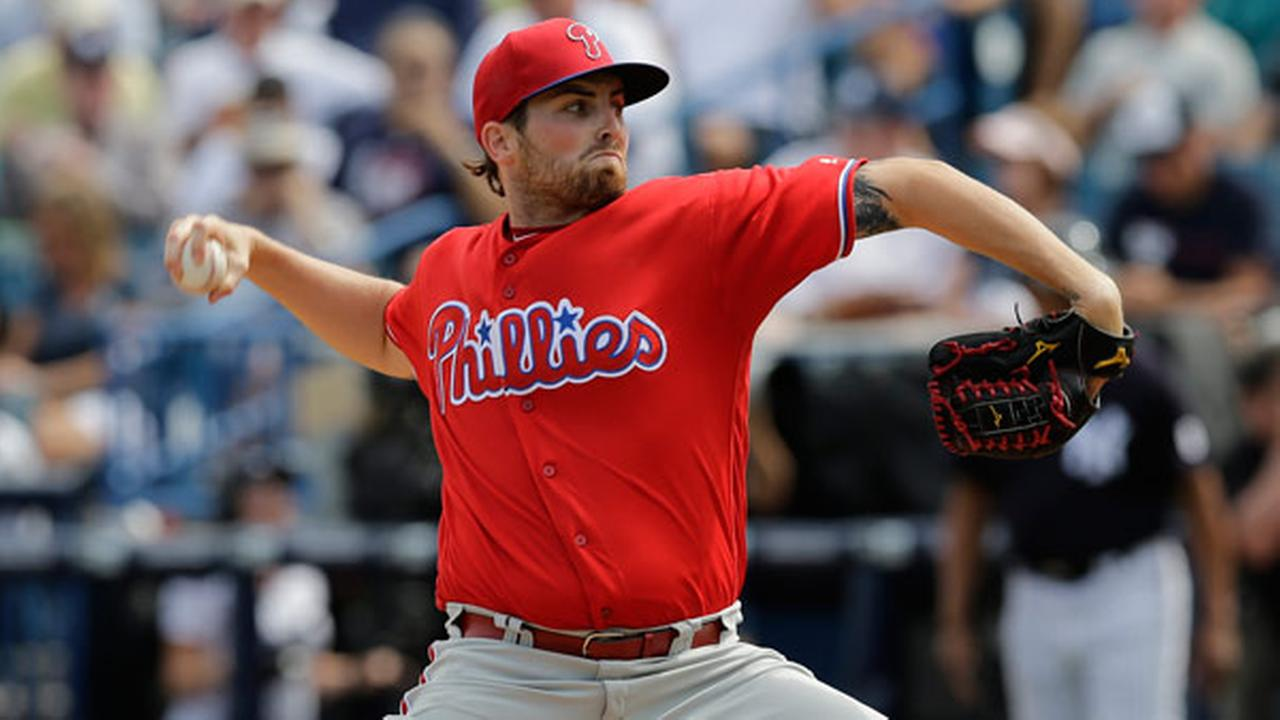Philadelphia Phillies starting pitcher Alec Asher during the fourth inning of a spring training baseball game against the New York Yankees Thursday, March 3, 2016, in Tampa, Fla.